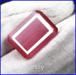 Expedite Shipping 14.70 Ct Certified Natural Amazing Emerald Shape Fire Pink Ruby Gemstone Jewelry Making ND1090