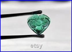 Extra fine Natural Zambian EMERALD Carved HEART 3 Carats GEMSTONE For Ring