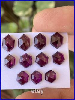 Fascinating purple Rhodolite garnet hexagon stepcut wt 26.50 cts pcs 11 size 7.7x7.2mm-10.7x7.4mm Rhodolite garnet stepcut hexagons