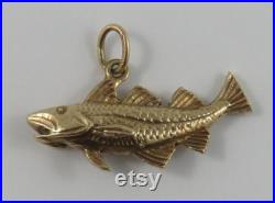 Fish 10K Gold Vintage Charm For Bracelet