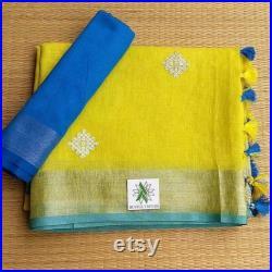 Free Shipping Linen saree Linen Silk Sari Organic Linen by Linen Sarees embroidered Zari Border Blouse Piece Handwoven 100 count Linen Saree