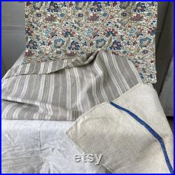 French grain sack fabric and linen Project Bundle for sewing projects material antique vintage cloth patchwork material