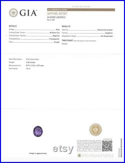GIA Certified Purple Sapphire, 2.36 Carats Loose Natural Real Genuine Gemstone Gem, Certificate, Oval Cut H6