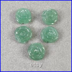 GREEN QUARTZITE Gemstone Carving 55.00cts Natural Untreated Unheated Quartzite Hand Carved FLOWER 13mm 15mm 5pcs