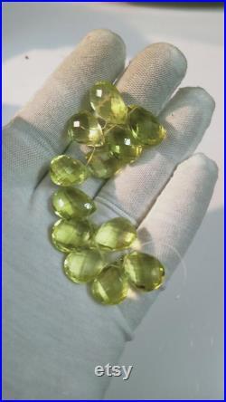 Golden Lemon Quartz Pear Shape Cut Stone Drilled For Necklace 5 12 Average Size ,12 Peices, Rare Colour ,Hand Made , Hand Cut