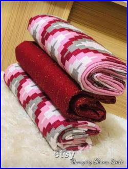 KENTE-Hand woven Kente-African Royal Kente-Cotton, Silk, Wool blend
