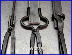 Knife Making Tongs set Bladesmith Blacksmith Tools Anvil Vise Hammer Forge
