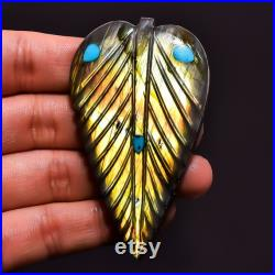 LABRADORITE and TURQUOISE 100 Natural DAZZLING Carving Gemstone, Cabochon, Fusion, Inlet, Reconstructed, inlet 70X41X8 mm 190.10 Carat C 3757