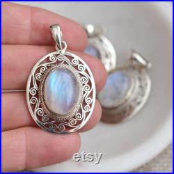 Large Oval Rainbow Moonstone Sterling Silver Gemstone Pendant, 30mm, June Birthstone Pendant, Rainbow Moonstone Pendant, BID19-0118Q