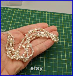 Larger Japanese Akoya Saltwater Keshi Pearl Strand Seed Pearls Lot AAA Quality About 85 Pearls Per Strand Lots of Overtone Colors
