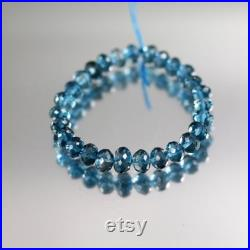 London Blue Topaz Beads 5 to 7mm Blue Topaz Beads Luxe AAA Rondelle Set of 27