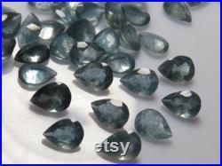 MOSS AQUAMARINE -Pear Cut Fine Stone Natural Green Blue Excellent Fine Cut Faceted Sparkle High Quality size 6x9 10 pcs- Wholesale Lot
