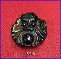 Magic Power Collectible Tibetan Onyx Dragon King Heaven Eye Pendant Talisman Carving LLsCarving Talisman