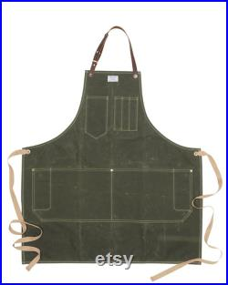 Mens Workshop Apron in Wax or Duck Canvas with Removable Leather Strap ARTIFACT