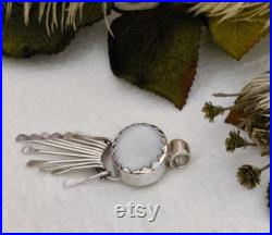 Mexican Artisan Crafted Sterling Silver White Agate Pendant