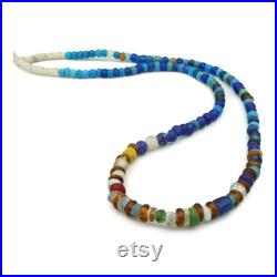 Mixed Dogon, Ancient Roman Glass and Padre Beads from Mali (8-12mm) 36 Strand African Rare Blue Green Glass Trade Beads (1653F064) Antique