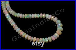 Natural Ethiopian Yellow Opal Rondelle Faceted Beads Ethiopian Opal Beads 3.5-7.5 MM 71 Cts 16 Inches Opal Necklace GIC 1862