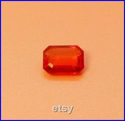 Natural Loose Emerald Shape Orange Sapphire 1.03 Carat Gemstone
