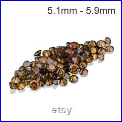 Natural Round Orangish Cognac Color Enhanced Diamonds Available in 5.1MM-5.9MM