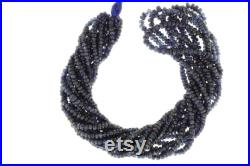 Navy Blue Sapphire 3.5mm Hand Faceted Rondelles 16 Bead Strand