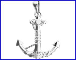New 925 Sterling Silver 3-D Ship Anchor and Sailor Rope Charm Pendant