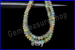 New Arrival Total 2 Strands of 16 Inches 77 Carat Full Hank of 3-5 MM Fire Ethiopian Opal Faceted Rondelle Beads Natural Gems SKu 581