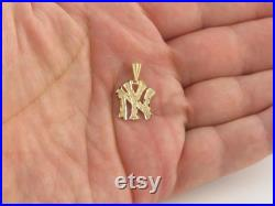 New York Yankee Charm Pendant 14k Yellow Gold Great Gift For Him Or Her