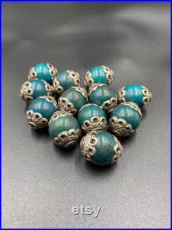 Rare Old Tibetan Brass With Turquoise 12 pieces Beads 21-22mm beads