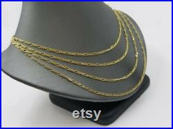 Real 14K Yellow Gold Figaro Link Chain Necklace 2Mm 16 18 20 22 24
