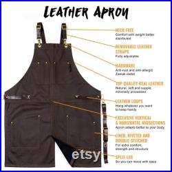 Real Leather Apron Brown Leather Body, Pockets and Crossback Straps Split-Leg, Riveted, Lined