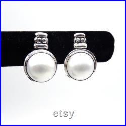 Real Seawater Mabe Pearl Earrings In Sterling Silver