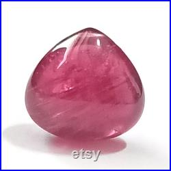 Rubelite Heart , 5.66 Cttw , Heart Shape Bead , Rubelite Cabochon , Rubelite Heart Drilled , Pink Tourmaline Heart , Drilled Rubelite Bead
