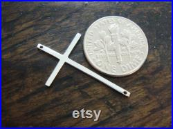 Sale, 10 off 30 pcs Sterling Silver Skinny Sideways Cross Connector, 28x17mm, High Polished