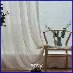 Sewing Fee For Nature Raw White Beige Solid Linen Sheer Curtain Fabric By the Yard,Organic Lace Trim Curtain,Living Room,Bedroom