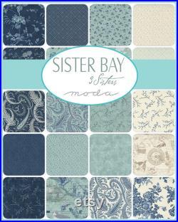 Sister Bay Fat Quarter Bundle, 34 pcs, 18 x 21 cuts designed by 3 Sisters for Moda Fabrics, 44270AB