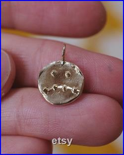 Smile Frown Double Sided Feeling Points Pendant, 14k gold