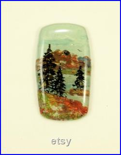 StudioStJames Handcrafted Clay-Resin Set of 4 Cabochons-4 Seasons-Mountains and Pine Tree Landscapes-PA 105303