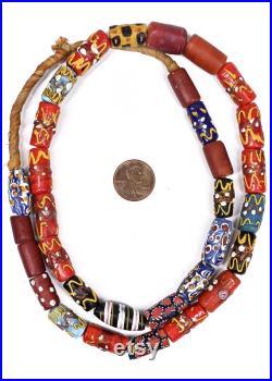 Venetian Wedding Cake Trade Beads Cornaline Feather Africa 130792