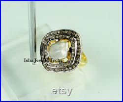 Victorian Ring Natural Rose Cut Diamond and Uncut Diamond Polki Gold 925 Sterling Silver Victorian Vintage Diamond Ring Jewelry