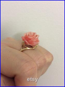 Vintage 14K Yellow Gold Coral Rose Ring
