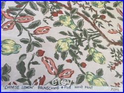 Vintage 1950s Brunschwig and Fils Chinese Lemon Fabric Sample, Brunschwig and Fils Chinese Lemon Fabric, Grandmillennial Fabric