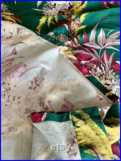 Vintage Floral Barkcloth Curtain Panels Fabric MCM Home in Miami or Palm Springs . . . or Midwest Delight . . . ready for your project