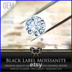 Whitest D Color Premium Brilliant Round Cut Moissanite with Certified Grading Report