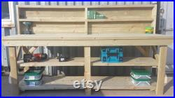 Wooden Indoor Outdoor Workbench With Back Panel And Double Shelf
