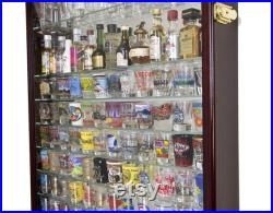 XL Shot Glass Shotglass Display Case Rack Holder Cabinet with Mirror Backing and 11 Glass Shelves up to 144 Shotglasses