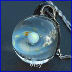 etsy Design Award Unique Birthday Gift Handmade Glass Universe Pendant 24mm, blue Galaxy Pendant Necklace, Twisted Space Glass Pendant